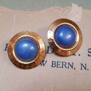 Vintage Earrings Goldtone Cobalt Clip Earrings